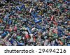 PHILADELPHIA - CIRCA 2008: Aluminum cans lie in a heap at an undisclosed recycling facility circa 2008 in Philadelphia. The cans will be compressed and baled. - stock photo