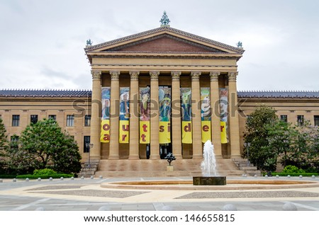 PHILADELPHIA - CIRCA MAY 2013: The Museum of Art in Philadelphia, USA, circa May 2013. The Philadelphia Museum of Art has in recent decades become known due to the role it played in the Rocky films. - stock photo