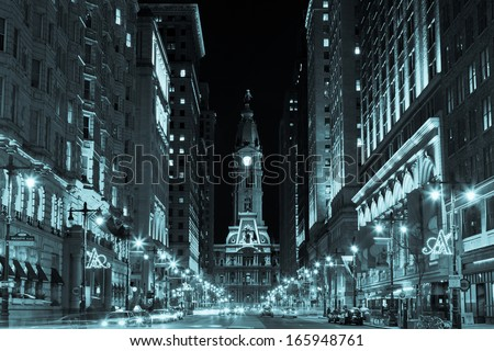 Philadelphia city hall  by night , Pennsylvania USA - stock photo