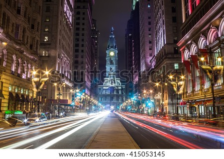 Philadelphia City Hall from South Broad Street - stock photo