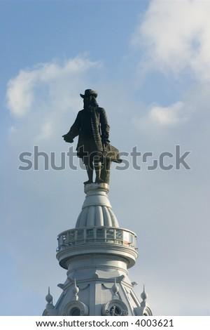 Philadelphia City Hall - Statue of William Penn - stock photo