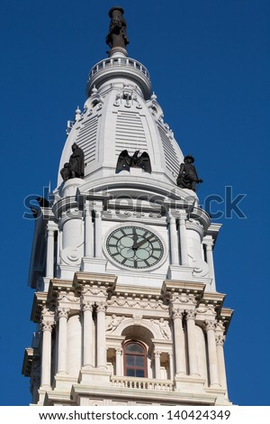 Philadelphia City Hall Watch Tower - stock photo