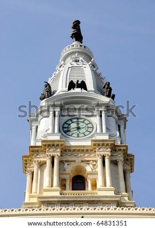Philadelphia City Hall Watch Tower - stock photo