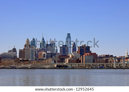 Philadelphia Cityscape at Penn's Landing - stock photo