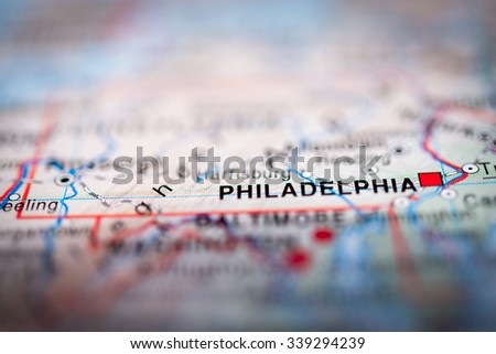Philadelphia close up on map. Shallow depth of field. (vignette) - stock photo
