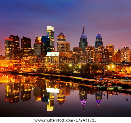 PHILADELPHIA - DEC 2: A dusk image of the City of Philadelphia reflected in the still waters of The Scullykill River, as seen from the South Bridge on Dec 2, 2013 in Philadelphia, USA - stock photo