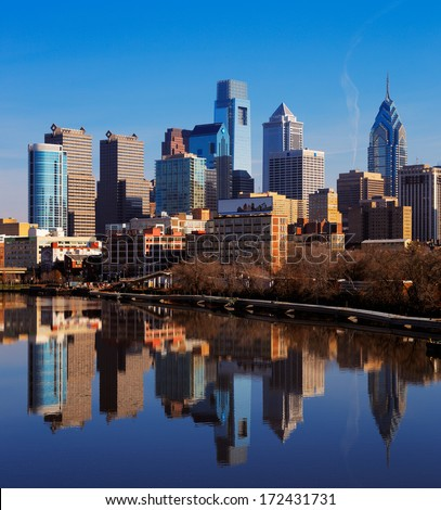 PHILADELPHIA - DEC 1: City of Philadelphia reflected in the still waters of The Scullykill River, as seen from the South Bridge on Dec 1, 2013 in Philadelphia, USA - stock photo