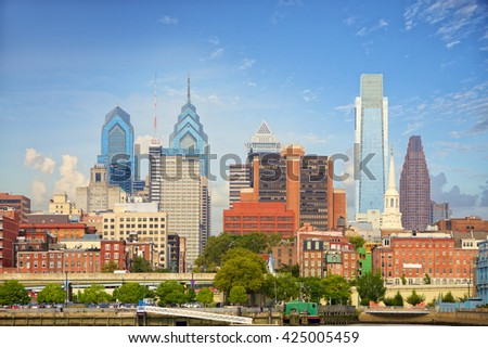 Philadelphia downtown cityscape, United States - stock photo