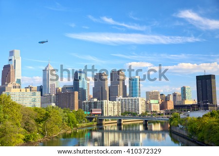 Philadelphia downtown cityscape with Schuylkill River, United States - stock photo