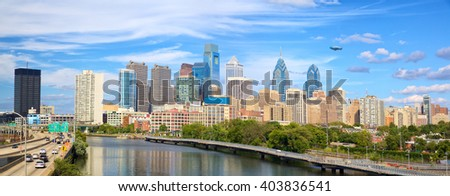 Philadelphia downtown skyline panorama, United States - stock photo