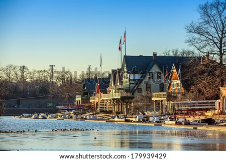 PHILADELPHIA - FEB 27: Boathouse Row at sunset light on February 27, 2014 in Philadelphia. Boathouse Row is a historic site located on the east bank of the Schuylkill River. - stock photo
