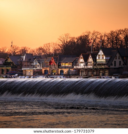 PHILADELPHIA - FEB 27: Boathouse Row by night on February 27, 2014 in Philadelphia. Boathouse Row is a historic site located on the east bank of the Schuylkill River. - stock photo