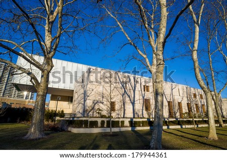 PHILADELPHIA - FEB 27:  The Barnes Museum in Philadelphia on February 27, 2014. The Barnes Foundation was established by Albert C. Barnes in 1922 - stock photo
