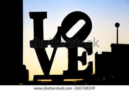 PHILADELPHIA - FEBRUARY 17: The Love sculpture in Philadelphia on February 17, 2014. The Love sculpture silhouette photo. - stock photo