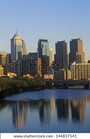 Philadelphia from the Schuylkill River, PA - stock photo