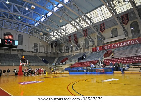 PHILADELPHIA - JANUARY 21: The Palestra sits empty prior to the start of the Temple vs. Maryland NCAA college basketball game January 21, 2012 in Philadelphia. - stock photo