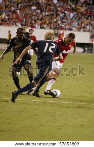 PHILADELPHIA - JULY 21 : players of Manchester United on the field during pre-season match against Philadelphia Union on July 21, 2010 in Philadelphia