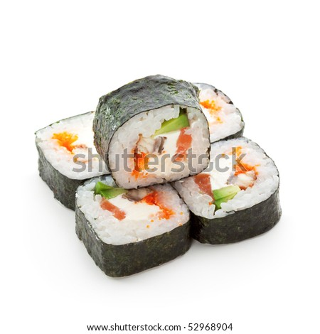 Philadelphia Maki Sushi - Roll made of Smoked Eel, Cream Cheese, Tobiko and Salmon inside. Seaweed outside