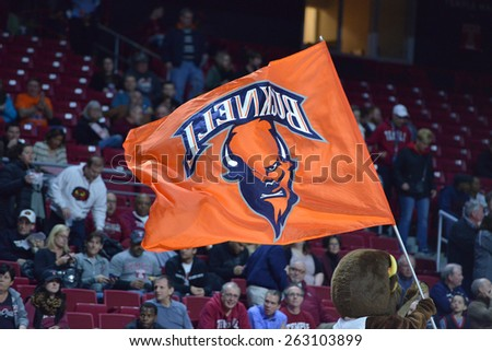 PHILADELPHIA - MARCH 18: A Bucknell Bison flag flies prior to the NIT first round basketball game March 18, 2015 in Philadelphia. - stock photo