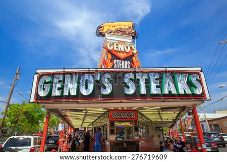 PHILADELPHIA- MAY 8: The famous cheesesteak restaurant Geno's Steaks on May 8, 2015. The restaurant is located in South Philadelphia and serves the most famous Philadelphia dish.