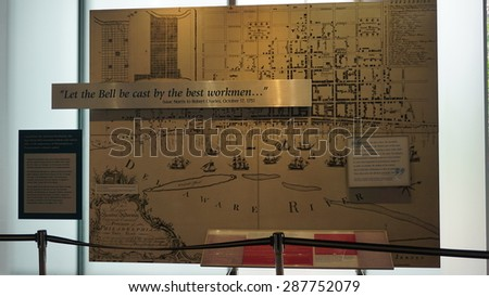 PHILADELPHIA - MAY 9: The Liberty Bell Center housing the symbol of American independence in Philadelphia, on May 9, 2015. The bell originally cracked when first rung after arrival in Philadelphia. - stock photo