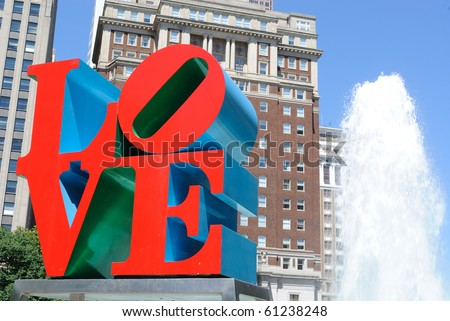 PHILADELPHIA - MAY 30: The popular Love Park aptly named after the Love statue May 30, 2010 in Philadelphia, Pennsylvania. - stock photo