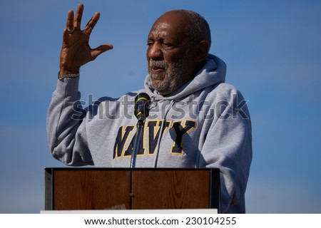 PHILADELPHIA - NOVEMBER 11: Bill Cosby speaks to a crowd of people celebrating veterans day on November 11, 2014 in Philadelphia.          - stock photo
