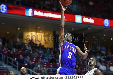 PHILADELPHIA - NOVEMBER 17: Louisiana Tech Bulldogs guard Raheem Appleby (3) goes up for a shot during the NCAA basketball game November 17, 2014 in Philadelphia.