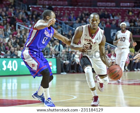 PHILADELPHIA - NOVEMBER 14:  Temple Owls guard Will Cummings (2) drives towards the corner during the season opening game against American November 14, 2014 in Philadelphia.