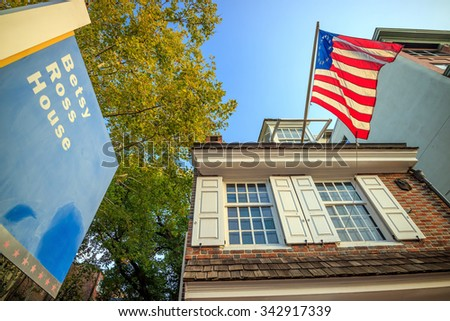 PHILADELPHIA - OCT 19: The historic Betsy Ross house tourism landmark with hanging American flag in Old City Philadelphia  on October 1, 2015. - stock photo