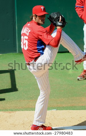 PHILADELPHIA, PA - APRIL 4 : Philadelphia Phillies pitcher, and World Series MVP, Cole Hamels warms up in bullpen April 4, 2009 in Philadelphia, PA.