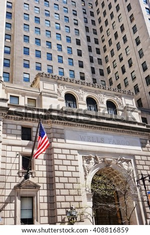 PHILADELPHIA, PA -15 APRIL 2016- The Beaux-Arts style Wells Fargo building on South Broad Street in Philadelphia was built in 1928. It was originally called the Fidelity Philadelphia Trust Company. - stock photo
