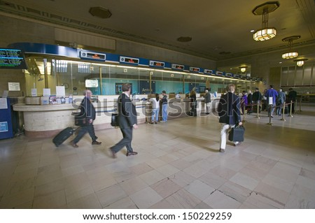 PHILADELPHIA, PA. - CIRCA 2005: Interior view of 30th Street Station and ticket booths, a national Register of Historic Places, AMTRAK Train Station in Philadelphia, PA - stock photo