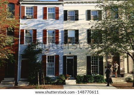 PHILADELPHIA, PA. - CIRCA 1980's: Row houses in Philadelphia, PA - stock photo