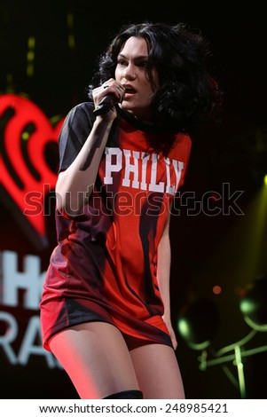 PHILADELPHIA, PA - December 10, 2014: Jessie J performs at the Wells Fargo Center on December 10, 2014 in Philadelphia.  - stock photo