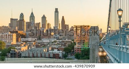 PHILADELPHIA, PA - JUNE 12, 2016: Philadelphia Skyline at Sunset from the Benjamin Franklin Bridge - stock photo