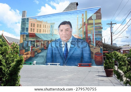 PHILADELPHIA, PA - JUNE 4: The mural of former mayor Rizzo is a continued source of pride in the Italian American community in South Philadelphia on June 4, 2011 in Philadelphia, PA. - stock photo