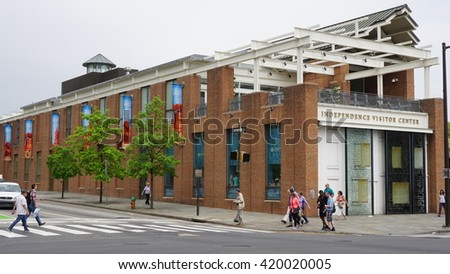 PHILADELPHIA, PA - MAY 9: Independence Visitor Center in Philadelphia, USA, as seen on May 9, 2015. The 50,000-square-foot building was constructed in 2001 as a cooperation of many area organizations. - stock photo