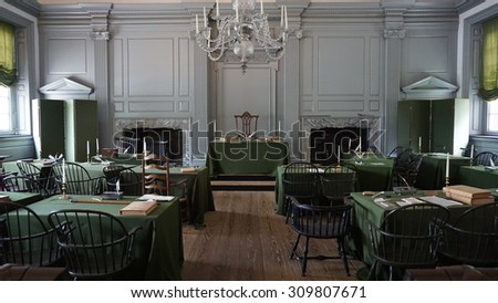 PHILADELPHIA, PA - MAY 10: Restored Assembly Room with Rising Sun Chair of George Washington at the Independence Hall in Philadelphia, Pennsylvania, as seen on May 10, 2015.  - stock photo