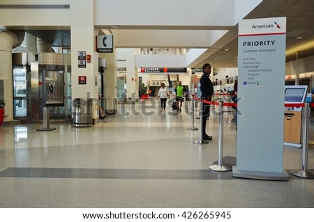 PHILADELPHIA, PA- 22 MAY 2016- Terminal C at the Philadelphia International Airport (PHL). - stock photo