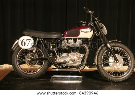PHILADELPHIA, PA - SEPT 2: Simeone Museum shows a 1963 twin engine Triumph motorcycle , it's one of 7 ever built. September 2, 2011 in Philadelphia PA.