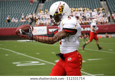 PHILADELPHIA, PA. - SEPTEMBER 8: Maryland receiver#3 Nigel King make a grab against Maryland against Temple  on September 8, 2012 at Lincoln Financial Field in Philadelphia, PA.