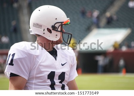 PHILADELPHIA, PA. - SEPTEMBER 17: Penn State quarterback Matt McGloin before a game against Temple on September 17, 2011 at Lincoln Financial Field in Philadelphia, PA.  - stock photo