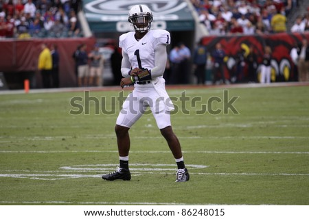 PHILADELPHIA, PA. - SEPTEMBER 17: Penn State Quarterback Robert Bolden looks to the sidelines  during  a game against Temple on September 17, 2011 at Lincoln Financial Field in Philadelphia, PA.
