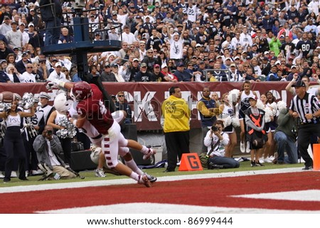 PHILADELPHIA, PA. - SEPTEMBER 17: Penn State receiver Derek Moye has the ball pushed away during a game on September 17, 2011 at Lincoln Financial Field in Philadelphia, PA.