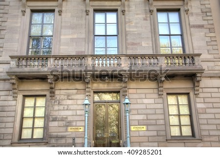 Philadelphia, Pa. USA, April 21, 2016: facade of the Athenaeum of Philadelphia. April 21, 2016 in Philadelphia, Pa. USA. - stock photo