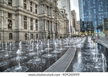Philadelphia, Pa. USA, April 21, 2016: Philadelphia town hall entrance with water fountains. April 21, 2016 in Philadelphia, Pa. USA . - stock photo