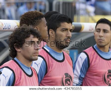 Philadelphia, PA USA - June 9, 2016: Luis Suarez of Uruguay sings National Anthem before Copa America Centenario game against Venezuela. Venezuela won 1 - 0 - stock photo