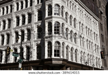 Philadelphia, Pa. USA, March 5, 2016: Lit Brothers vintage department store facade in downtown Philadelphia. March 5, 2016 in Philadelphia, Pa. USA. - stock photo