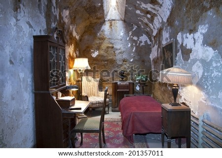 Philadelphia, PA, USA - May 1, 2012 : Exact recreation of the cell used by Al Capone at the Eastern Penitentiary in Philadelphia, PA